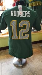 Green Bay Packers Aaron Rodgers Name & Number Shirt Ringspun Cotton