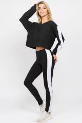 LADIES/WOMENS VARSITY STRIPED CROP TOP AND LEGGINGS 2 PIECE SET NWT BLACK
