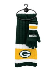 NFL Green Bay Packers Unisex Winter Knit Scarf and Glove Holiday Gift Set