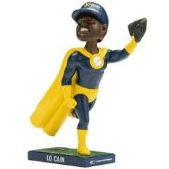 Milwaukee Brewers Lorenzo Cain LO Cain Super Hero Bobblehead SGA