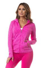 Women's/Ladies Seamless Active Living Jacket with Hoodie FUCHSIA