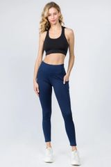 LADIES/WOMENS HIGH WAISTED TECH POCKET WORKOUT LEGGINGS NAVY BLUE