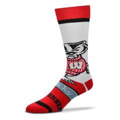 FBF Wisconsin Badgers Bobblehead Mascot Socks 505-7 LARGE