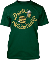 Drink Wisconsinbly Barrel Man Green & Gold Color