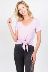 Women's/Ladies Short Sleeve Split Front Top LAVENDER