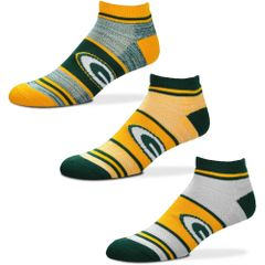 Green Bay Packers TriPlex Heathered 3 Pack No show Socks Large