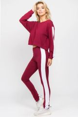 LADIES/WOMENS VARSITY STRIPED CROP TOP AND LEGGINGS 2 PIECE SET NWT WINE RED