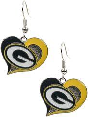 Green Bay Packers Swirl Hearts Dangle Earrings NFL