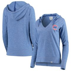 Women's Chicago Cubs Heathered Royal Waffle Knit Pullover Hoodie