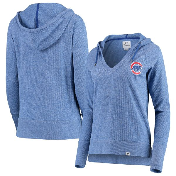 hot sale online e5acb 7194b Women's Chicago Cubs Heathered Royal Waffle Knit Pullover Hoodie