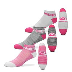 FOR BARE FEET GREEN BAY PACKERS $100 RMC GRID HEATHERED PINK 3 PACK SIZE MEDIUM