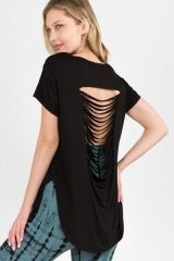Lady's Knit Top w/ Slashed-Back & Curved Hem Black