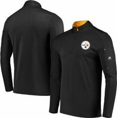 Men's NFL Pittsburgh Steelers Black Half Zip 1/2 Reflective Logo Mock Neck