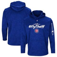 Chicago Cubs Fly The W Authentic Collection Streak Fleece Pullover Hoodie BLUE