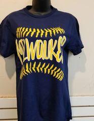 Milwaukee Baseball Scrawl Navy Shirt