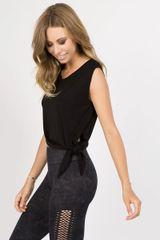 LADIES/WOMENS ASYMMETRICAL HEM KNIT TOP NWT BLACK