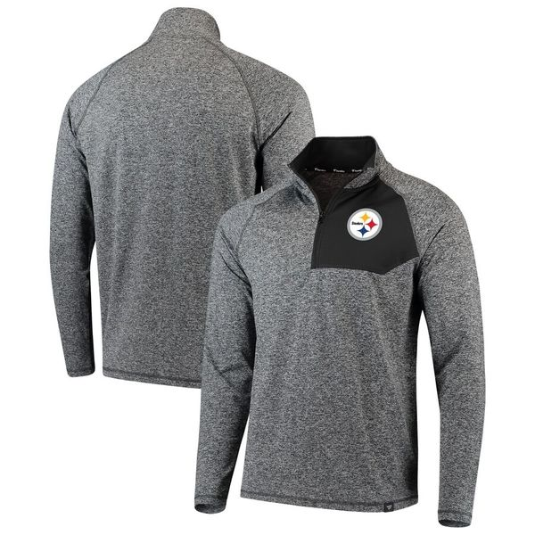 new style cb84d 0e52c Men's Pittsburgh Steelers NFL Pro Line Heathered Charcoal Static Synthetic  Quarter-Zip Pullover Jacket
