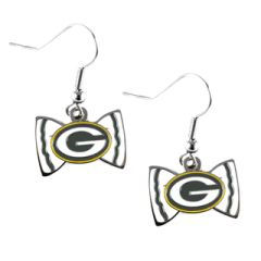 Green Bay Packers Bowtie Dangle Earrings NFL
