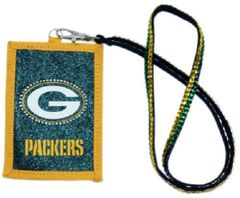 GREEN BAY PACKERS BEADED LANYARD ID/CREDIT CARD/WALLET ZIPPER HOLDER NFL FREE SHIPPING
