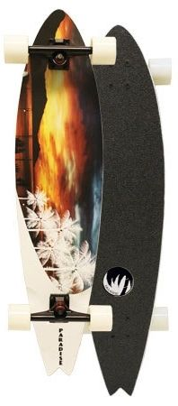 Paradise White Sunset Fish Complete Longboard PWSF001