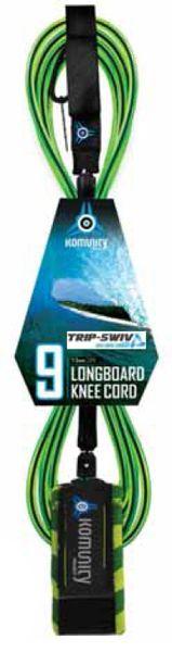 Komunity Project Trip-Swiv Longboard Knee 9 Surfboard Leash KPTL002
