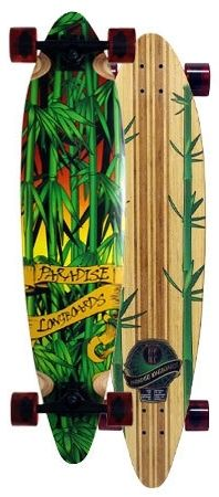 Paradise Rasta Bamboo 3 Bamboo Pintail Complete Longboard PRBB001