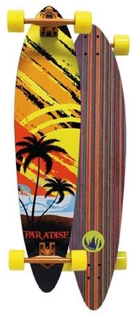 Paradise Sunset Sketch Inlay Pintail Complete Longboard PSSI001