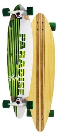 Paradise White Bamboo Pintail Complete Longboard PWBP001