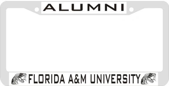 License Plate Frame, FL A&M Alumni (Silver Back Etched)