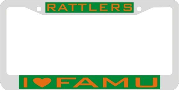 License Plate Frame, Rattlers I (Heart) FAMU