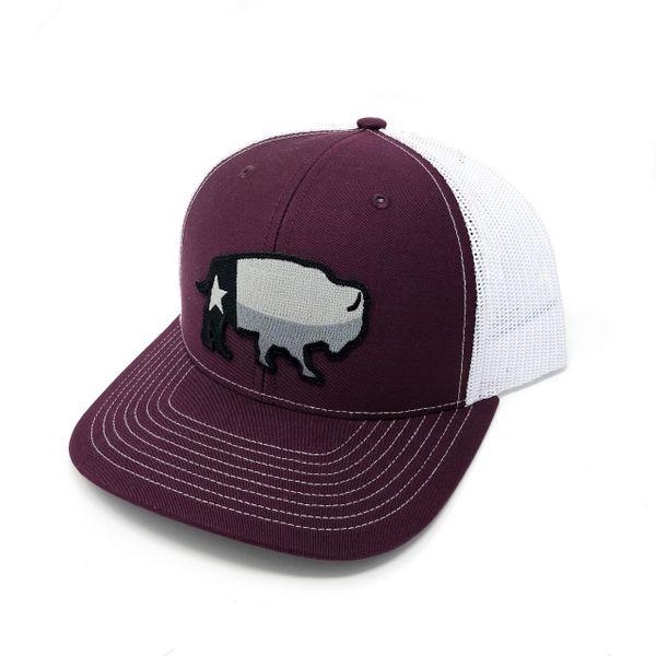 Texas Buffalo Grey - Maroon/White