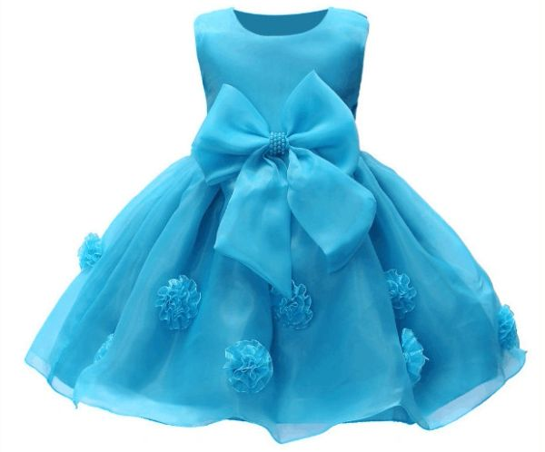 Valerie Flower Baby Girl Dress Wedding Bridesmaid Gown Turquoise ...