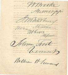 William Seward, Confederates Geyer, Bradbury, Whig Foot -- Five Autographs