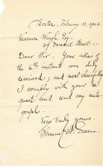 Important Civil War Surgeon, Brevetted, Mayor of Boston Samuel Green, Offers Autograph