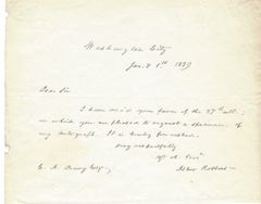 John Quincy Adams' Enemy Asher Robbins Offers Autograph