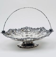 Antique Sheffield Silver Plate Cake Basket with Handle