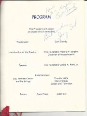 Fine Menu Signed by President Ford, Massachusetts Governors, Voice of the Red Sox Gowdy