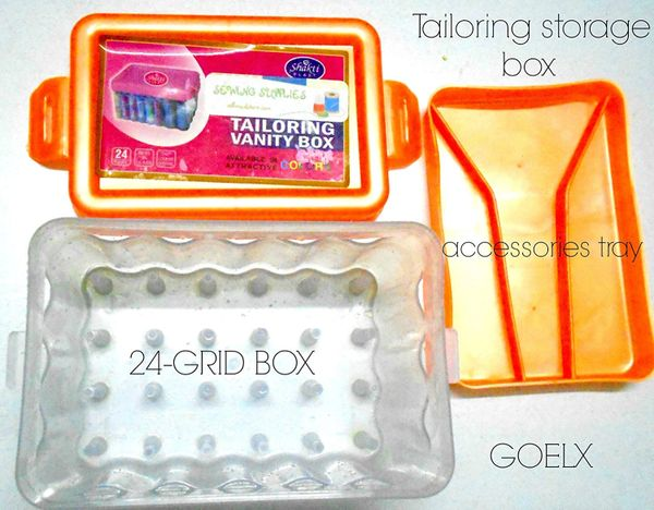 Sewing thread accessories storage box 24 grid container with