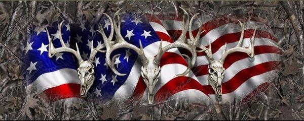 American Flag Deer Skull Hunting Camo Rear Window View