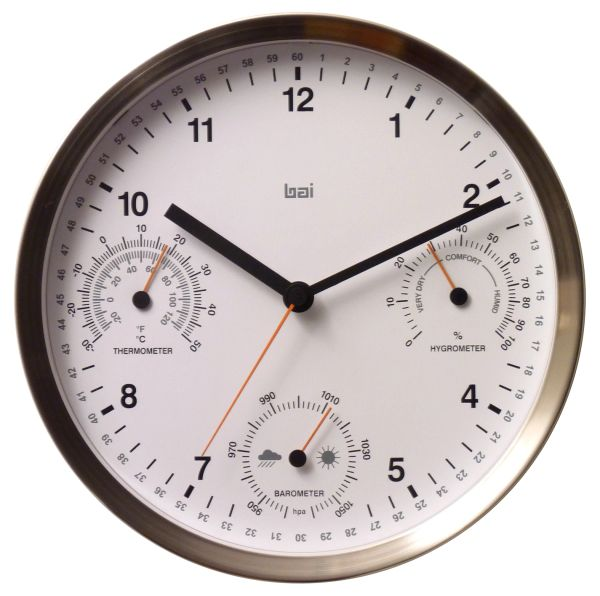 6 In 1 Stainless Steel Designer Weather Station Wall Clock