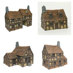 (SOLD) 4 - Piece 10mm Timber Framed Buildings Set