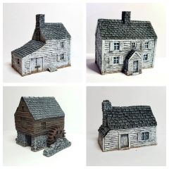 4 - Piece Clapboard Buildings Set
