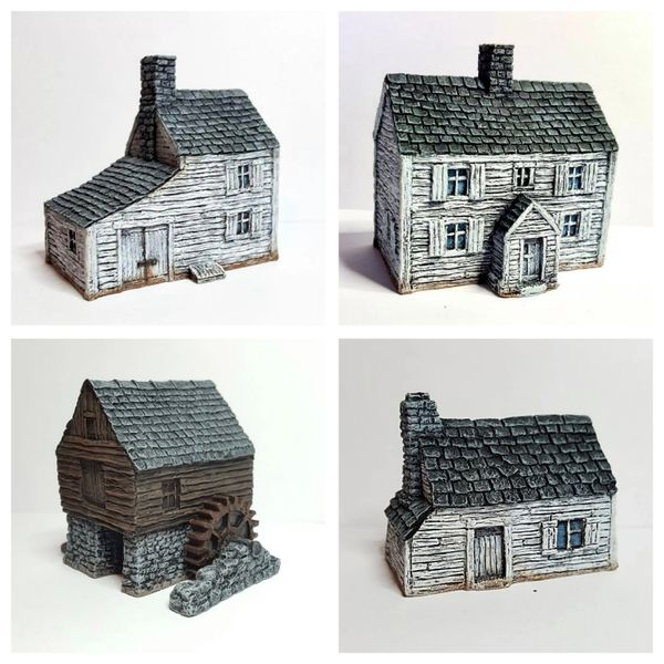 (10mm) 4 - Piece Clapboard Buildings Set
