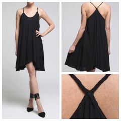 Sleeveless Woven Dress with Braided Strap Detail