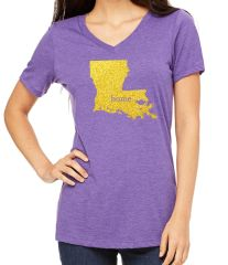 LA Home Glitter Ladies V-neck Purple/Gold
