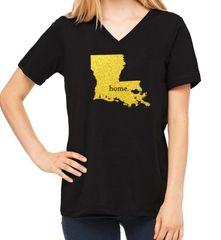 LA Home Glitter Ladies V-neck Black/Gold