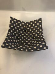 Microwaveable Bowl - WHITE Dots on BLACK / Set of all three sizes