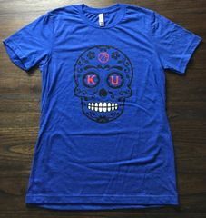 KU Sugar Skull Unisex Super Soft Blue Crew Tee