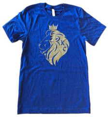KC Crown Lion Unisex Super Soft Blue Crew Tee