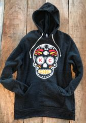K C Sugar Skull Super Soft Hoodie Unisex Eco Black
